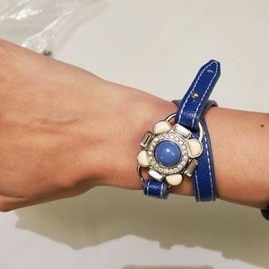 Lia Sophia leather double floral wrap bracelet